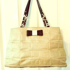 Kate Spade Straw & Leather Satchel
